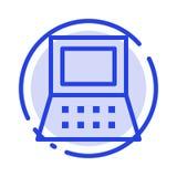 Computer portatile, computer, linea punteggiata blu linea icona dell'hardware royalty illustrazione gratis