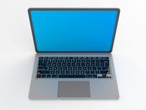 Computer portatile lucido moderno su bianco Immagine Stock Libera da Diritti