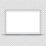 Computer portatile lucido moderno su fondo trasparente Fotografie Stock
