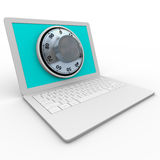 Computer portatile - manopola sicura per obbligazione Fotografia Stock Libera da Diritti