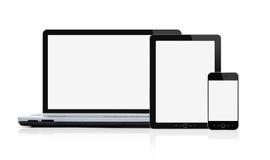 Insieme dei dispositivi mobili moderni in bianco Immagini Stock Libere da Diritti