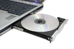 Computer portatile moderno con dvd espelso Fotografie Stock Libere da Diritti