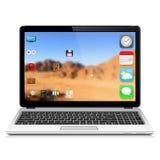Computer portatile moderno con l'interfaccia utente Immagini Stock