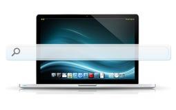 Computer portatile moderno con la barra vuota di web Fotografia Stock