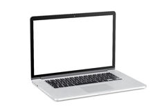 Computer portatile moderno con lo schermo in bianco Immagini Stock
