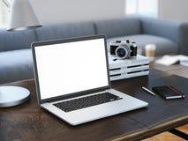 Computer portatile moderno con lo schermo in bianco rappresentazione 3d Immagine Stock