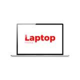 Computer portatile moderno dell'icona realistica piana di vettore del computer portatile Fotografia Stock Libera da Diritti