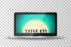 Computer portatile moderno realistico isolato Manifestazione della banda sul fondo di tramonto royalty illustrazione gratis