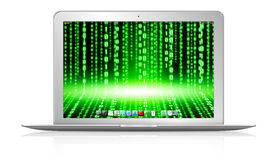 Computer portatile moderno su fondo bianco Fotografia Stock Libera da Diritti