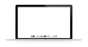 Computer portatile moderno su fondo bianco Immagini Stock Libere da Diritti