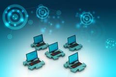Computer portatile nei puzzle Immagine Stock Libera da Diritti