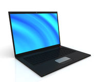 Computer portatile nero alla moda sottile Fotografia Stock