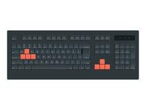 Computer portatile nero, modello di vettore della tastiera di computer su fondo bianco Illustrazione del pannello di controllo pe Immagini Stock