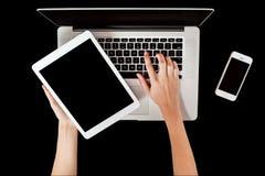 Computer portatile nuovissimo, compressa e smartphone Fotografia Stock