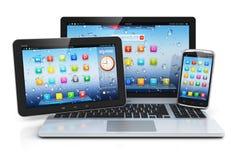 Computer portatile, PC della compressa e smartphone Fotografie Stock Libere da Diritti