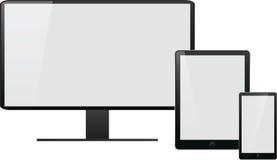 Computer portatile, pc della compressa, telefono cellulare e navigatore Fotografie Stock Libere da Diritti