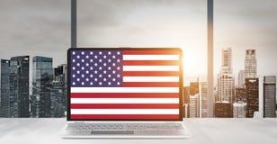 Computer portatile per la festa dell'indipendenza di U.S.A. Immagine Stock Libera da Diritti