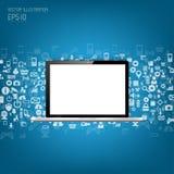 Computer portatile piano dettagliato realistico con le icone dell'applicazione illustrazione di stock