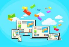 Computer portatile rispondente del email di vendita di Digital di progettazione illustrazione vettoriale