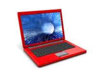 Computer portatile rosso Immagini Stock Libere da Diritti
