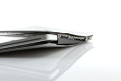 Computer portatile rotto Immagini Stock Libere da Diritti