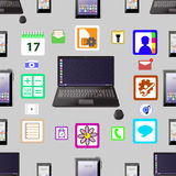 Computer portatile, smartphone, compressa ed etichette Reticolo senza giunte Fotografia Stock