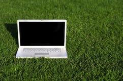 Computer portatile su erba Fotografia Stock