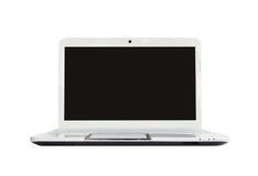 Computer portatile su fondo bianco Fotografia Stock