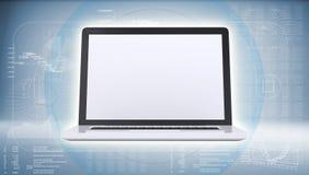 Computer portatile su fondo blu alta tecnologia illustrazione di stock
