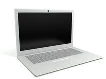 computer portatile su una priorità bassa bianca Fotografia Stock Libera da Diritti