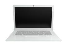 Computer portatile su una priorità bassa bianca Fotografie Stock Libere da Diritti