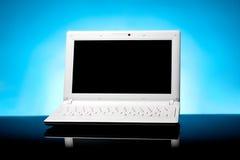 Computer portatile sull'azzurro Fotografia Stock Libera da Diritti