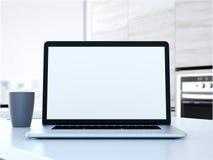 Computer portatile sulla tabella rappresentazione 3d Immagini Stock Libere da Diritti