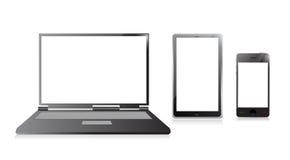 Computer portatile, telefono cellulare e pc digitale della compressa Fotografia Stock