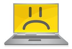 Computer portatile triste Immagini Stock