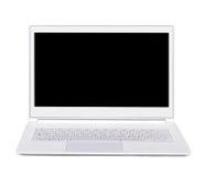 Computer portatile ultra sottile d'argento del portatile. Isolato. Vista frontale. Immagine Stock Libera da Diritti