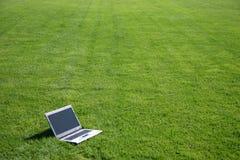 Computer portatile in un campo verde Fotografia Stock