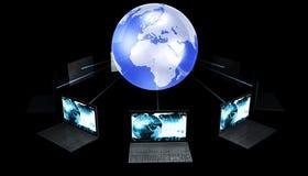 Computer portatili intorno al mondo Fotografie Stock