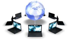 Computer portatili intorno al mondo Fotografie Stock Libere da Diritti