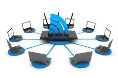 Computer portatili intorno al router di WIFI Fotografia Stock