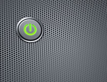 Computer power button on closeup Royalty Free Stock Image