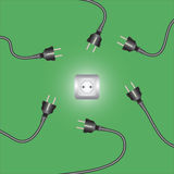 Computer power cords and outlet. Vector illustration royalty free illustration