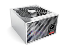 Computer power supply. Silver computer power supply on white background Stock Photography