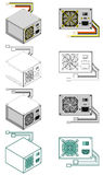 Computer power supply box. Illustration of computer power supply box in different styles and colors Stock Images