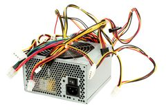 Computer power supply with fan. And wires Royalty Free Stock Image