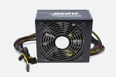 Computer power supply fan 850 watt with cable for ATX full tower stock image