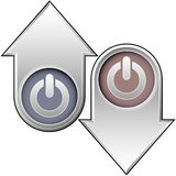 Computer power on up and down arrows. Up and down arrow buttons with computer power icon ot indicate position, popularity, or rate Royalty Free Stock Photo