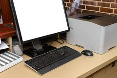 Computer with printer on desk in office. Image of computer with printer on desk in office royalty free stock image