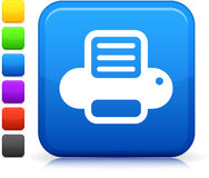 Computer printer  icon on square internet button Royalty Free Stock Photo