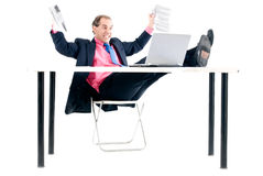 Computer problem. Overload businessman with computer problem on white background Stock Photography